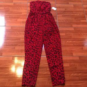 Black & Red leopard print jumpsuit